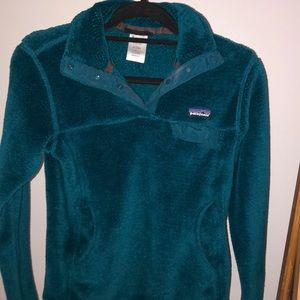 Patagonia teal fleece snap up pullover